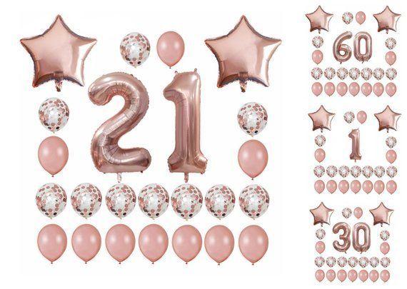 21ST BIRTHDAY Balloons Rose Gold Set | 1st Baby Shower Party Balloons | Sweet 16 Birthday Party | Ro - #balloons #birthday #party #shower #sweet -