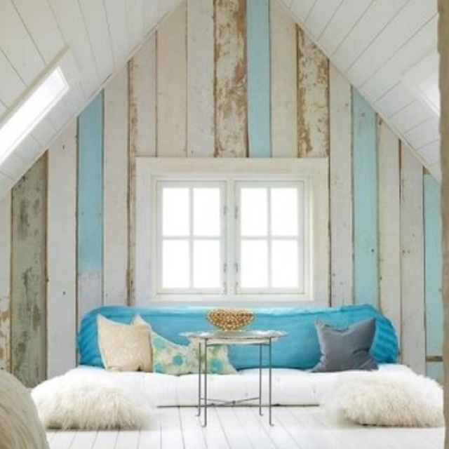 Blue (possibly green or teal instead) and white distressed wood paneling  for the living - 11 Best Images About Distressed Paneling On Pinterest Self