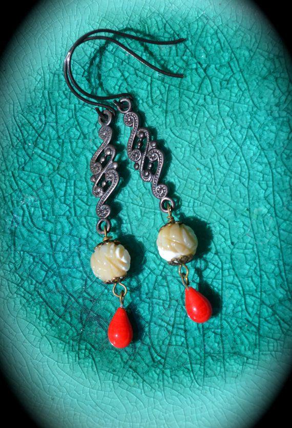 Moonlight and Roses Earrings handmade by practicallyfrivolous, $24.00: Rose Earrings