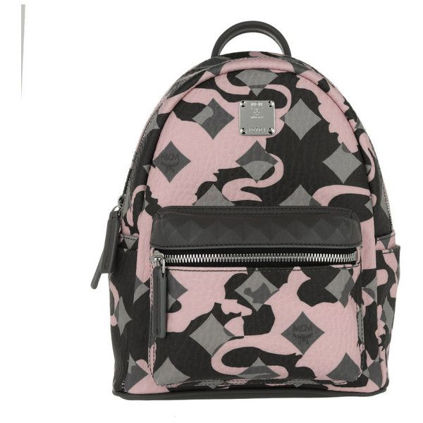 MCM Shoulder Bag - Stark Munich Lion Camo Backpack Mini Light Pink -... (3,035 SAR) ❤ liked on Polyvore featuring bags, zipper shoulder bag, mini backpack, grey shoulder bag, mini bag and genuine leather shoulder bag