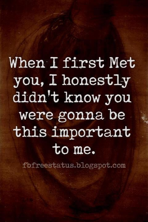 Quotes About Long Distance Relationship, When I first Met you, I honestly didn't know you were gonna be this important to me.