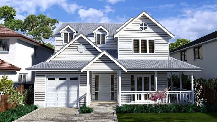 Design of August 2013 The Hamptons Design Picture of Traditional Hamptons Gables and two storey design traditional design narrow site design level site design house of the month floor plans all 5 bedroom