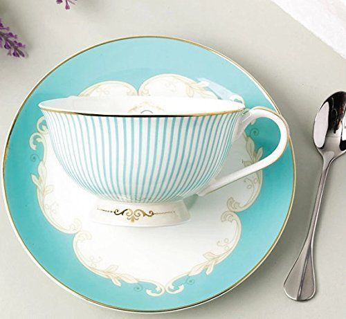 Jusalpha Vintage Blue Bone China Teacup Spoon and Saucer Set TCS01, New, Free Sh