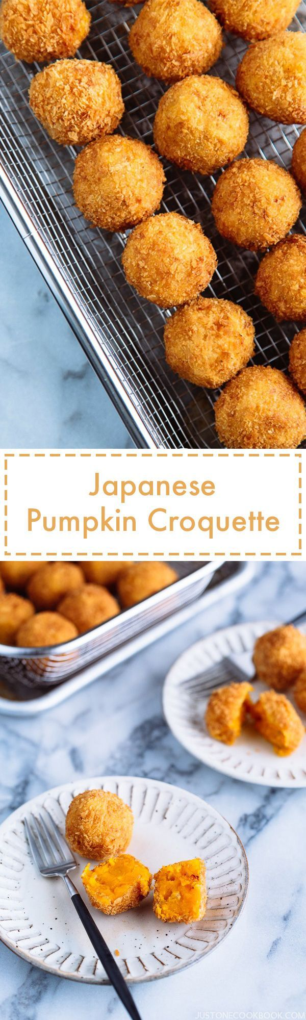 Japanese Pumpkin Croquettes (Kabocha Korokke) かぼちゃコロッケ | Easy Japanese Recipes at JustOneCookbook.com