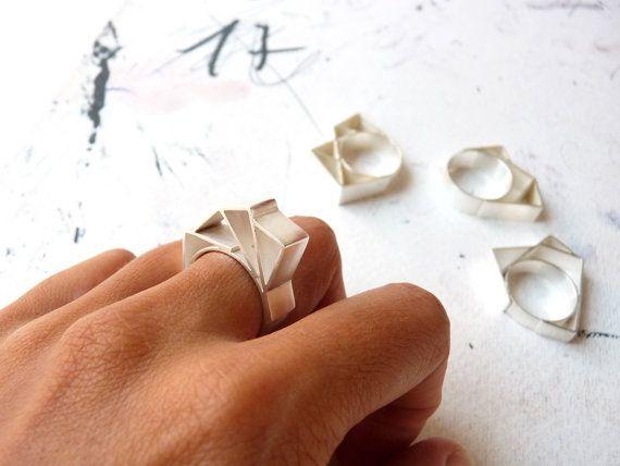 RING zilver hedendaagse sieraden geometrische hoekige door anapina