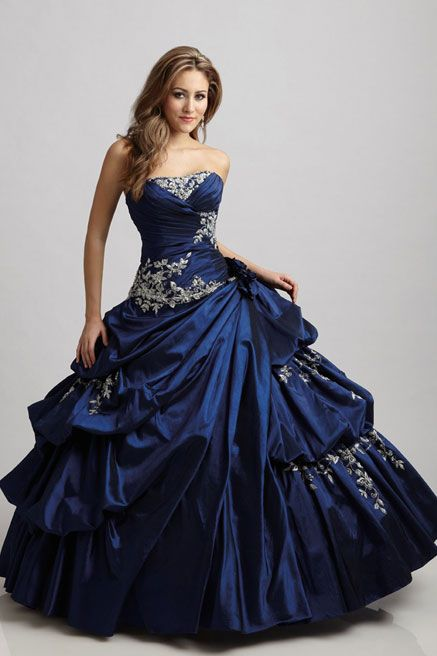 Royal Blue ball gown with pickups and floral applique