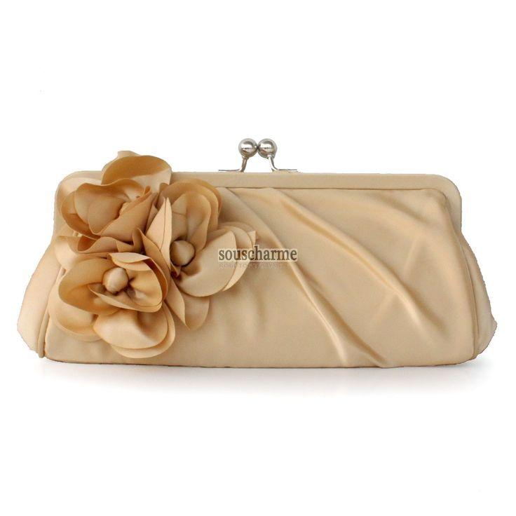 Pochette soirée champagne en satin rehaussé de fleur pochette portefeuille femme pas cher