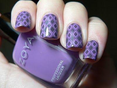 nails: Nails Art, Beautiful Nails, Fingernail Design, Nails Design, Patterns Nails, Nails Nailart, Purple Nails, Design Art, Nails Polish Design