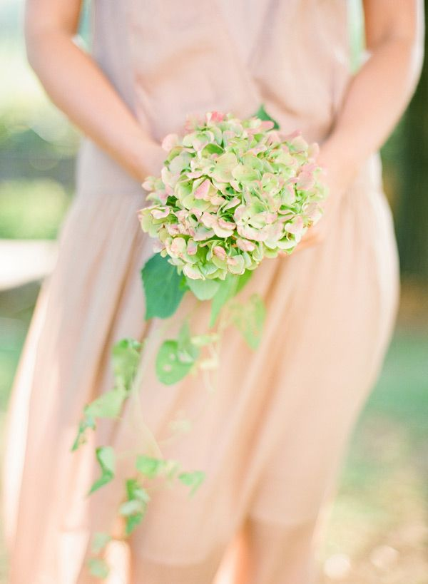 Green Hydrangea Bouquet for bridesmaids - the hydrangea will be all green, not green and pink as pictured