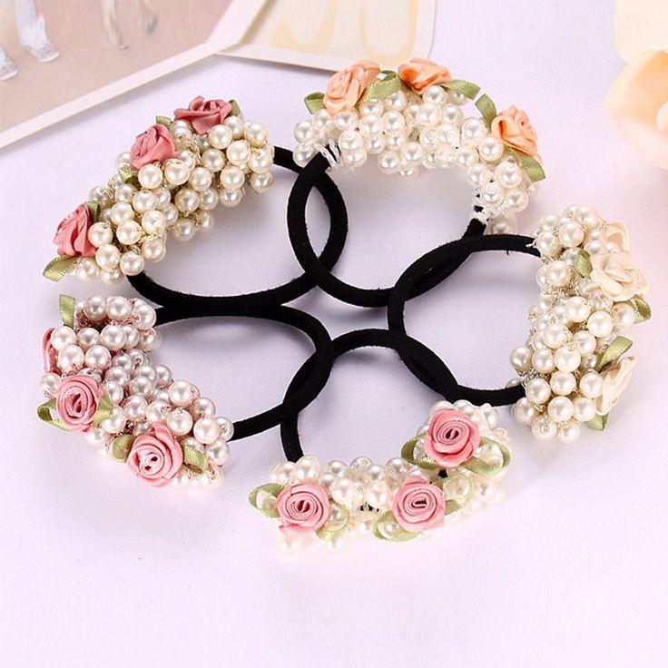 Neue Ankunft Mädchen Gum Imitation Perle Haare Seil Perle Mehrschichtigen Elegant Haarschmuck Blume Gummiband Mädchen Pferdeschwanz Halter
