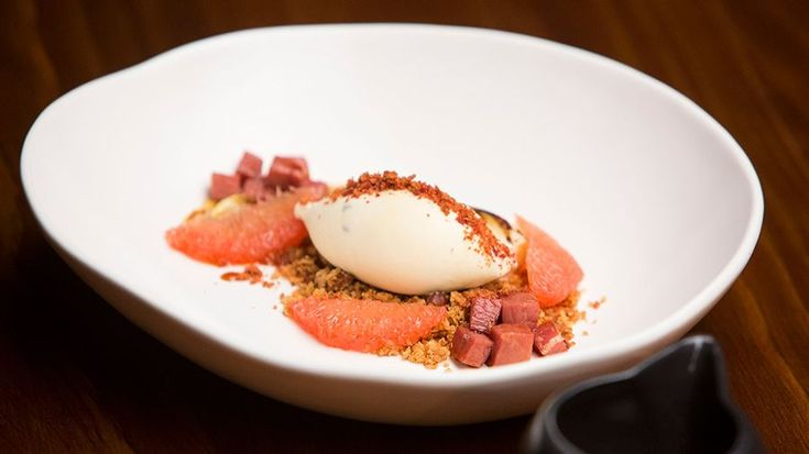 Blue Cheese Ice Cream with Almond Crumb, Candied Prosciutto and Braised Wombok