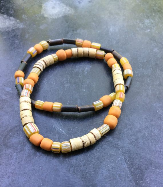 30% OFF for the first 20 Duo bracelets - Stretch bracelet – Unisex – Indonesian glass +coco beads - Rustic bracelet.
