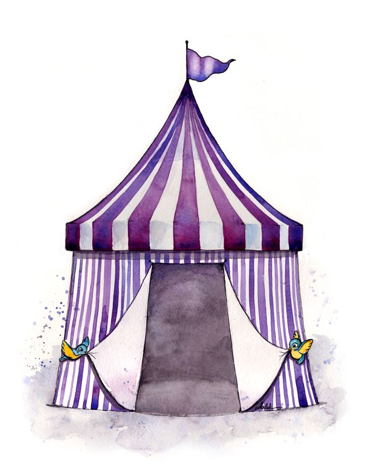 Vintage circus big top tent illustration for a nursery or children's bedroom
