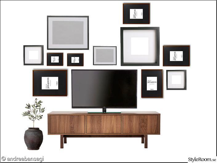 moodboard,tvbänk ikea,tavelram ribba,tavelram gallerix,urna,tavelvägg,tavlor valnöt,tavlor svart,vardagsrum