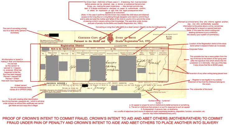 The Birth Certificate u2013 Evidence of the Crownu0027s Intent to Commit - mock birth certificate