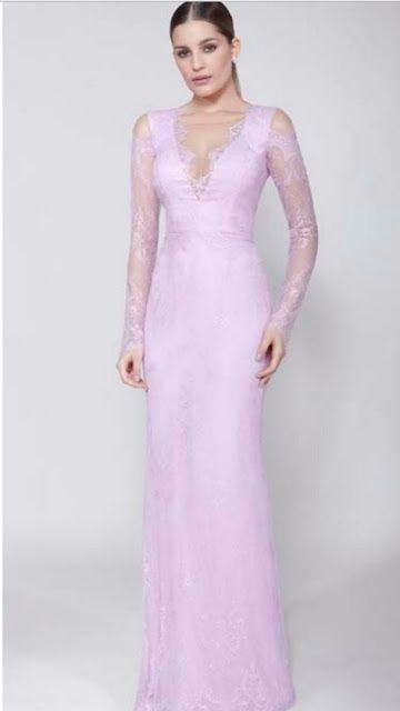 vestido de festa rosa claro com manga longa