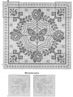 Декоративная подушка. Филейное вязание.