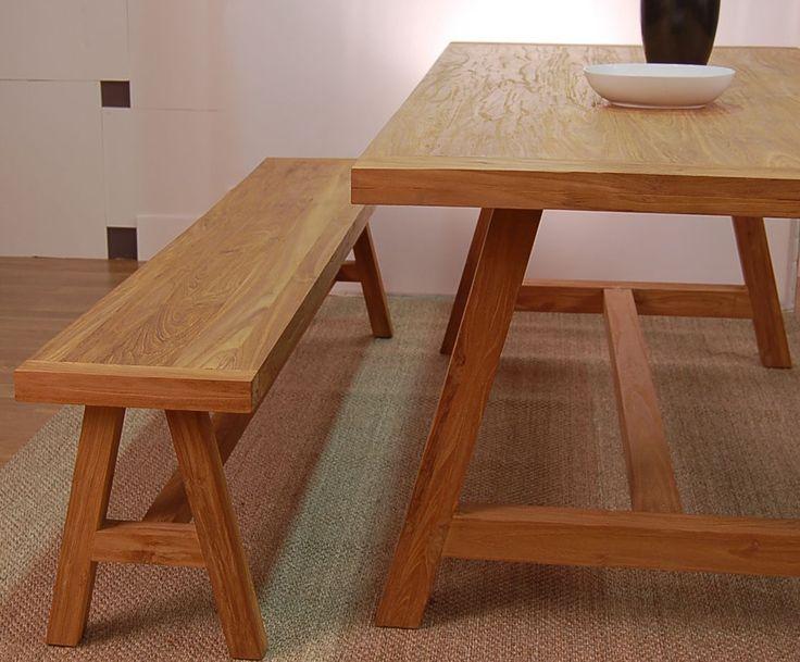 Banco RUSTIC de Bambó Blau, para comedor. De madera de teca rayada. Estilo rústico.