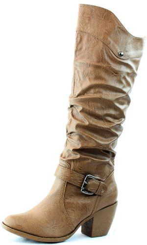 Round Mid Calf Knee High Ankle Buckle Strap Western Cowboy Boots