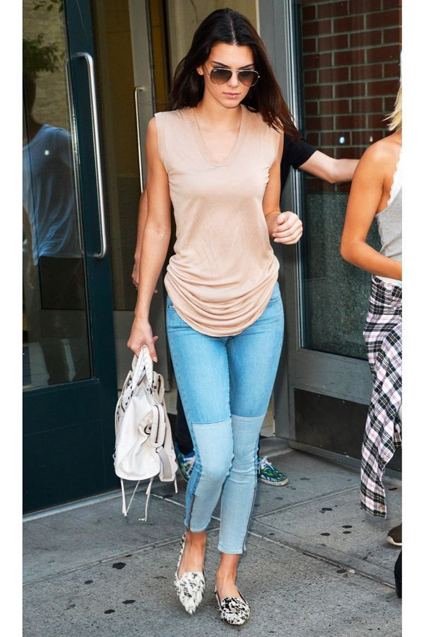 The Paige Denim Skinny Jean Over the summer, she couldn't get enough of Paige's two-tone skinny jeans. Lucky for us, the style is still available to shop this November. #refinery29 http://www.refinery29.com/2014/11/77136/kendall-jenner-birthday-outfit-pictures#slide-7