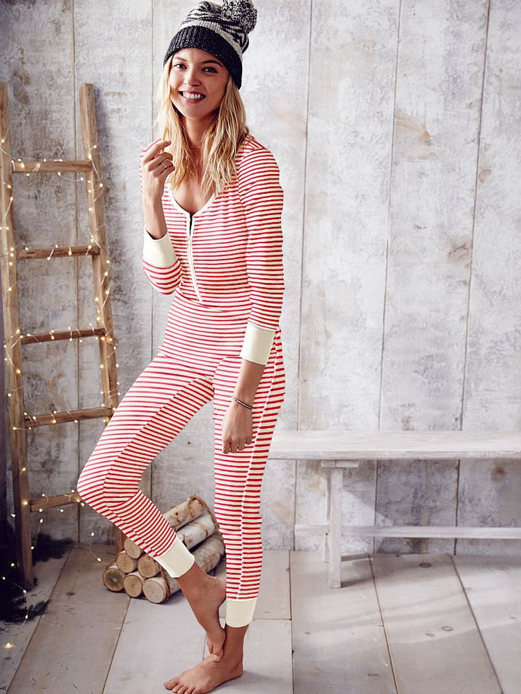Fact: this soft thermal onesie always spreads cheer. There's no resisting candy-cane stripes! | Victoria's Secret Fireside Onesie Pajama