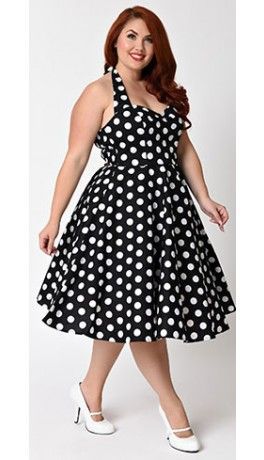 Hell Bunny Plus Size 1950s Black & White Mariam Swing Dress