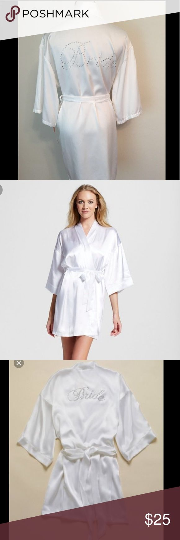 """Bridal 👰🏼 Bride 👰🏽 Satin Bath Robe 👰🏻 NWOT Beautiful white bridal bath robe. Only wore for a few minutes and then hand-washed & hung dry. Like new condition. Beautiful rhinestones on the back that spell out """"Bride"""". Would be adorable for wedding getting ready photos w/your bridesmaids or even to be worn on the honeymoon! Tag size XL/XXL I am normally a size 6, and this was oversized but I was able to cinch the waist with the satin tie so it didn't drown me. I would say this would be a…"""