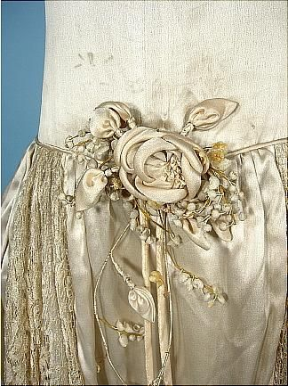 c. 1920's Panier Dress, detail--looks some contemporary with its fabric flower accent