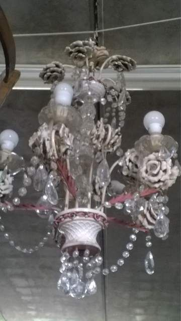Lampadario cristallo e ceramica anni 50
