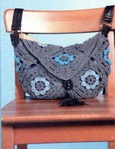 Motif crochet bag -  серая вязаная сумочка крючком из мотивов. С описанием вязания на русском языке и схемой.