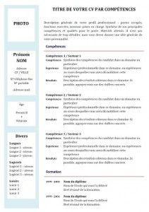 Exemple de CV par compétences à remplir