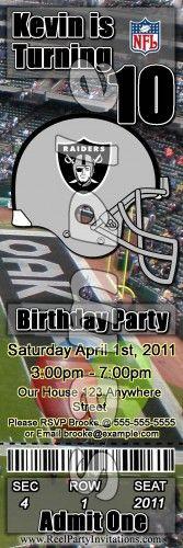 Oakland Raiders Party Invitations | Oakland Raiders Ticket Style Personalized Party Invitations ...