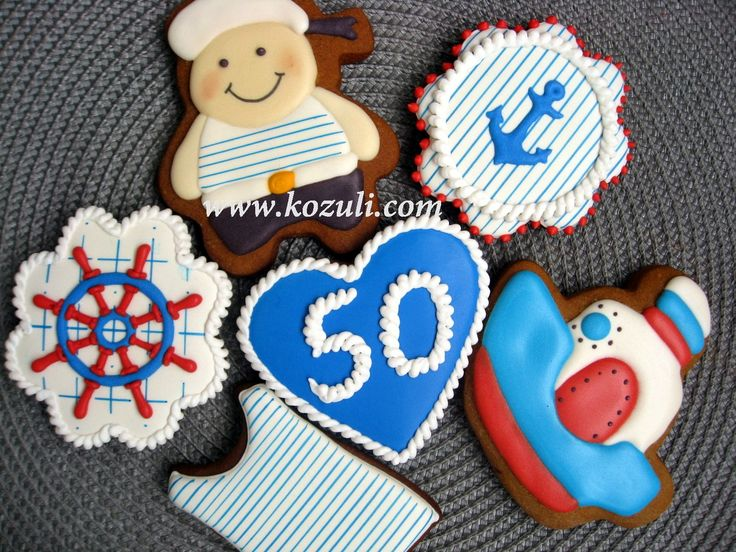 @kozuli_com  // Nautical cookies, Sailboat Cookies, Sailor Boy Cookie, Cookies for Boys / Icing cookies /  Royal icing cookies / Decorated cookies / Cookie decorating / Cookie decorating ideas / Sugar cookies / Sugar cookie icing