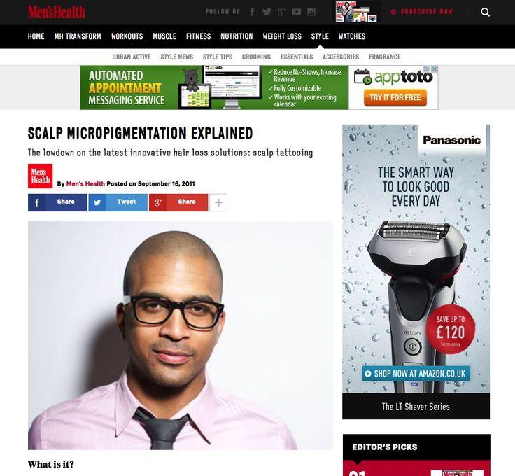 Scalp Micro pigmentation explained on Mens Health Mag.  #SkalpUK #HairLoss #scalpmicropigmentation #skalp #hairloss #tattoo #shaved #menshairstyles #hairloss #solution www.skalp.com