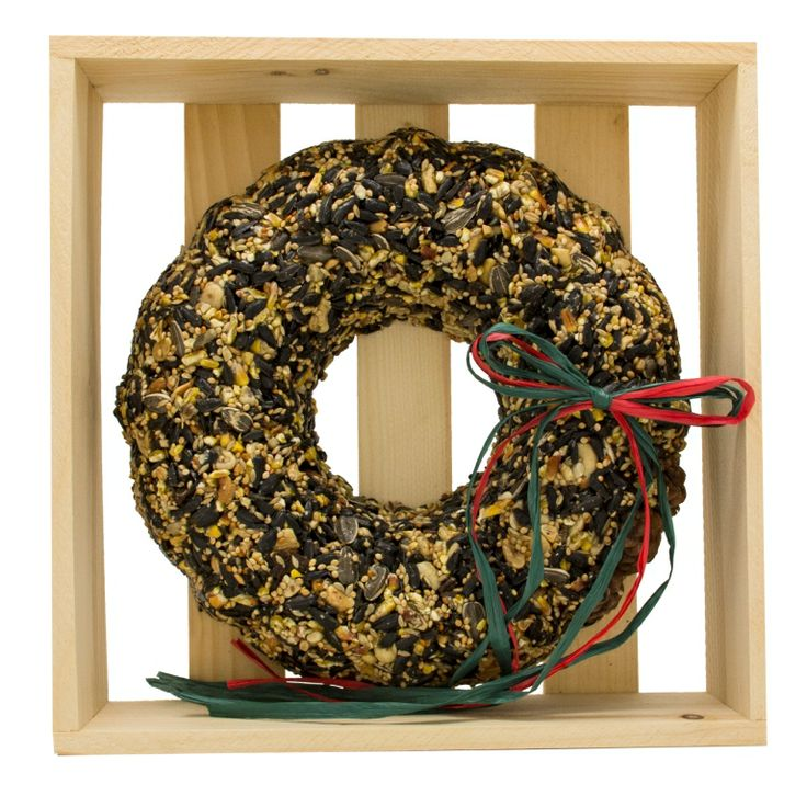 """WRTHS-C Festive Seed Wreath in Crate. Approximately10"""" x 10"""" x 2-1/2"""". Approximately 800g. May be hung with the crate."""