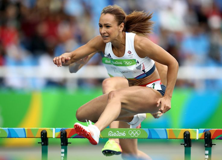 Jessica Ennis-Hill of Great Britain competes in the Women's Heptathlon 100 Meter Hurdles on Day 7 of the Rio 2016 Olympic Games at the Olympic Stadium on August 12, 2016 in Rio de Janeiro, Brazil.