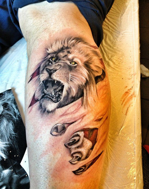 3D lion tattoo on leg - 50 Examples of Lion Tattoo  <3 !
