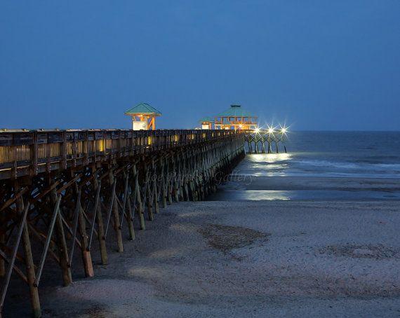 Evening at Folley Beach Fishing Pier, James Island, Charleston, South Carolina, 8x10 print in 11x14 mat, signed