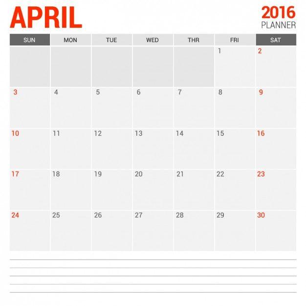Abril calendário mensal 2016 Vetor grátis