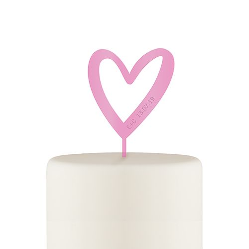Dark Pink Mod Heart Personalised Cake Topper