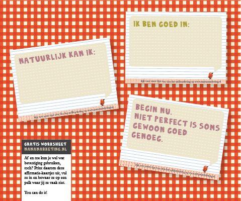 *gratis download*: affirmatie-kaartjes - zo heb je altijd troost paraat. Print ze uit, vul ze in en bewaar ze in je portemonnee, naast je beeldscherm... en help jezelf door moeilijke momenten heen.