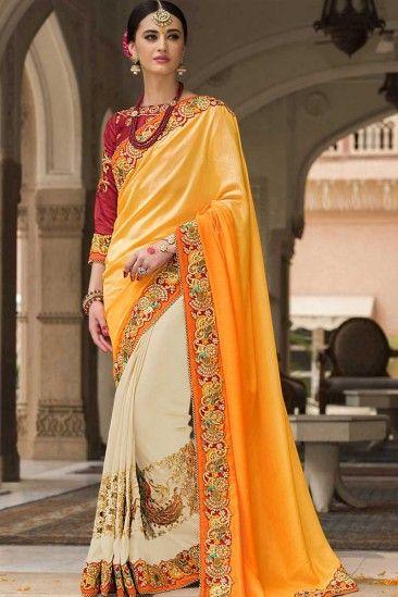 66309088a6 Yellow and cream Silk Saree With Banglori silk Blouse - DMV11256 ...