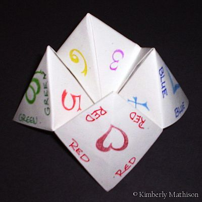 A Cootie Catcher or Origami Fortune Teller. Easy to make and great fun. Can be used to help with revision even or just to predict your love life! 8) Read more...........