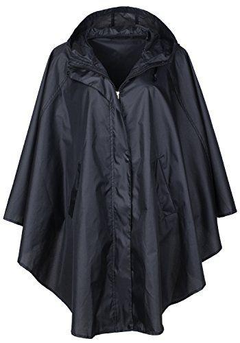 QZUnique Women's Waterproof Packable Rain Jacket Batwing-sleeved Poncho Raincoat - http://www.darrenblogs.com/2017/04/qzunique-womens-waterproof-packable-rain-jacket-batwing-sleeved-poncho-raincoat/