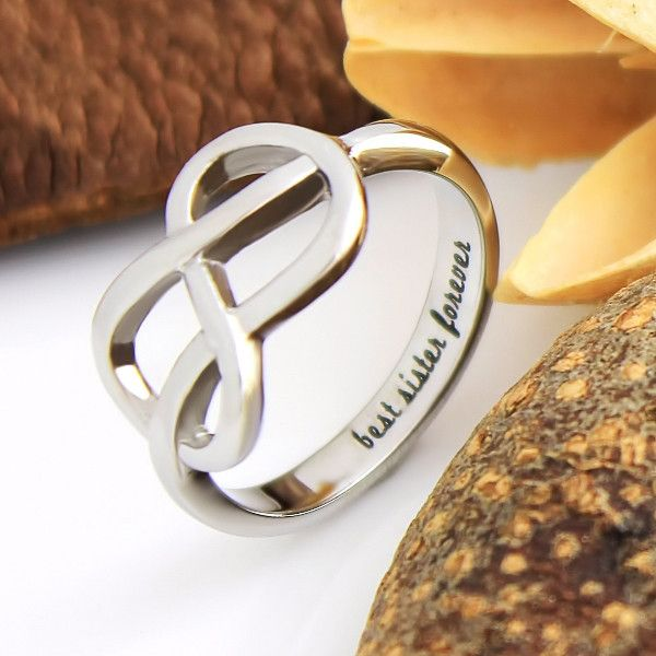 """Sister Ring, Infinity Ring, Promise Ring for Sister """"Best Sister Forever This Sister Ring proves that sisters jewelry can tell a lot about your feelings. It is gracefully shaped and decorated with an inscription """"Best Sister Forever"""" engraved inside. This beautiful ring will always make your dearest one recall all the best moments you have shared together and arouse her confidence in your love and support. #infinity #cute #ring #gift #sister #twins #christmas"""