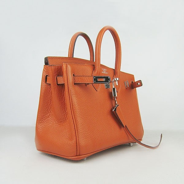 Hermes Orange 25CM Birkin Clemence Leather Bag With Silver HW Product Model: Hermes Birkin 25CM  Availability: In Stock  Color: Orange / Silver  Material: Calfskin Leather  Size: W25×H18×D13CM  Package: Hermes dust pouch, padlock, keys and key ornaments  Shipping: Free Price: $219