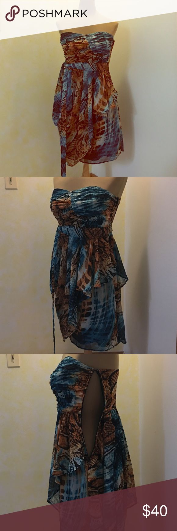 Animal print strapless dress **worn 1X***     Great dress to wear as a guest to a wedding or  with friends! Side zip closure makes getting in and out of dress a breeze ☺️ City Triangles Dresses Strapless