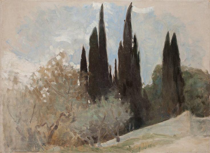 Helene Schjerfbeck (Finnish, 1862-1946), Cypresses, Fiesole, 1894. Canvas, 41 x 55.5 cm.