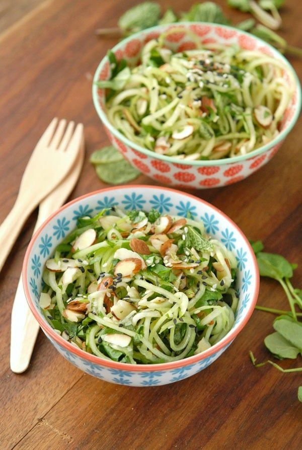 Cold Cucumber Noodle Salad with Watercress, Mint and Toasted Sesame-Ginger Dressing and Almonds