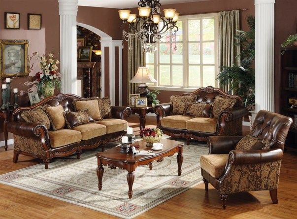Largest Sofa Sets Collection: The Dreena Traditional 3 PC Bonded Leather  And Chenille Sofa Set (Sofa, Loveseat And Chair)   Acme Furniture Is  Crafted With ...